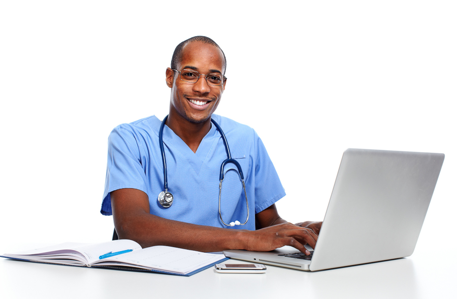 African-American Medical doctor man working with computer.